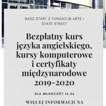 REKRUTACJA NASZ START Z FUNDACJĄ ARTS I STATE STREET 2019 – 2020